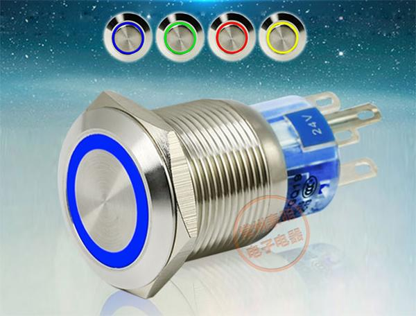 best selling LED Metal Push Button Switch 304 Stainless Steel 24V 1NO 1NC 19mm Dia Self Locking or Self Reset Momentary Waterproof