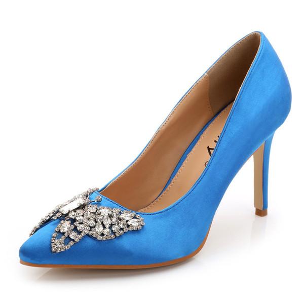 2016 New European Women Pumps High Thin Heels Fashion Elegant Luxury Crystal Diamonds Wedding Shoes Free Shipping