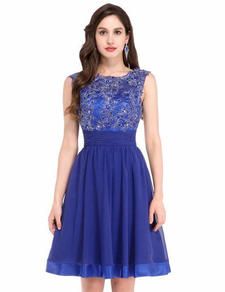 Compre Sin Mangas Azul Marino Vestidos De Fiesta Vestidos Cortos 2019 Ahuecado Diseño De Encaje Especial Ocasión Ocasión Vestido Azul Joya Vestido De