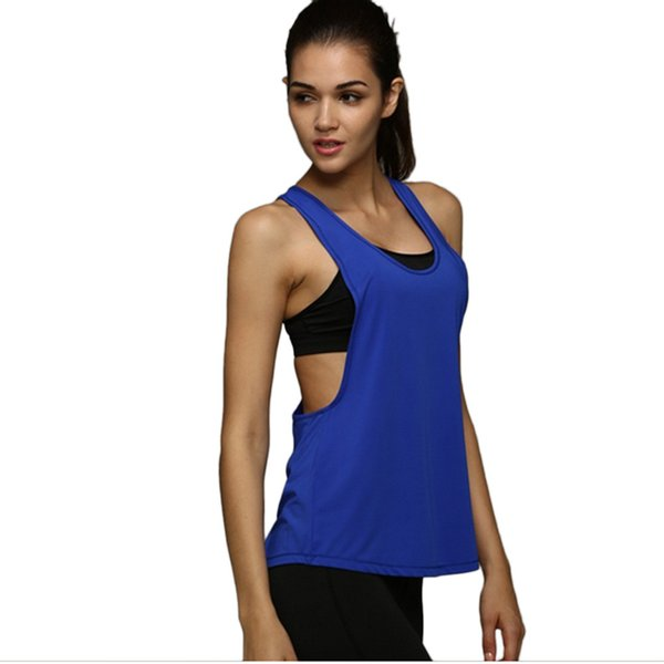 Wholesale-6 Colors Summer Sexy Women Tank Tops Quick Dry Loose Gym Fitness Sport Sleeveless Vest Singlet for Running Training T-shirt 1033
