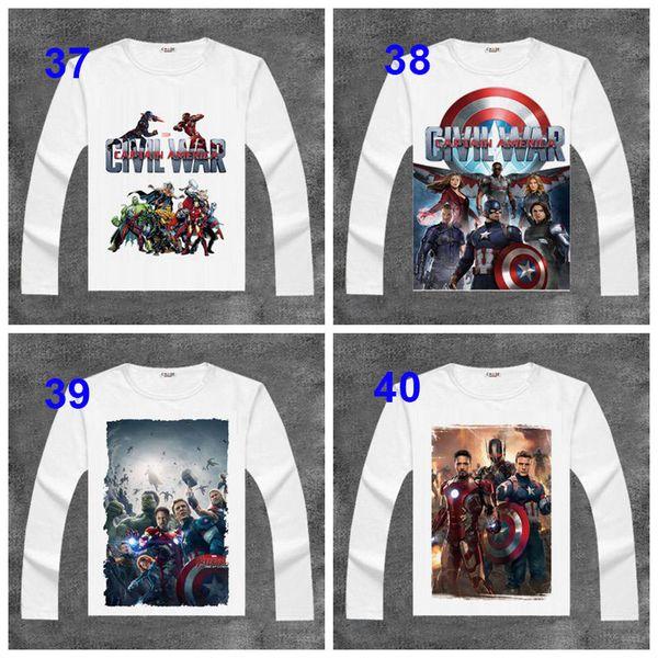USA Movie The Avengers2 T-shirts Iron Man Print Long Sleeve Deadpool T Shirt Cartoon Tops Spring Autumn Hulk Superman Tees