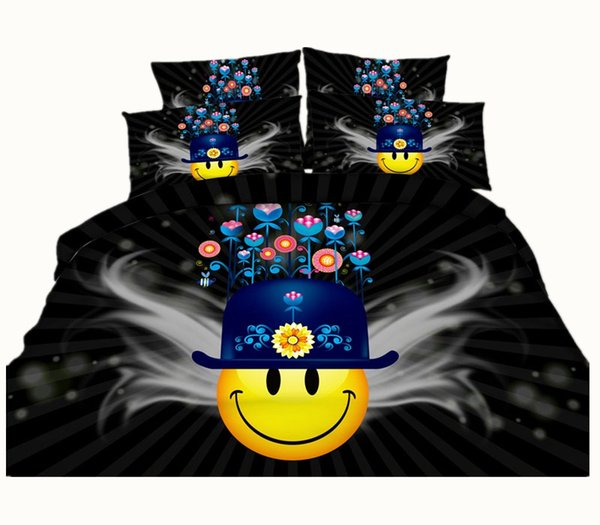 Cartoon Smiling Face 3D Printed Bedding Sets Twin Full Queen King Size Bedspreads Bedclothes Duvet Covers Flower Fashion Design 600TC 3/4PCS