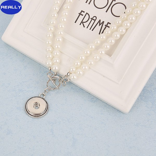 REALLY Wholesale NOOSA Snap White Imitation Pearl Jewelry With 18MM Tin Alloy Button Pendant Necklace Free Shipping