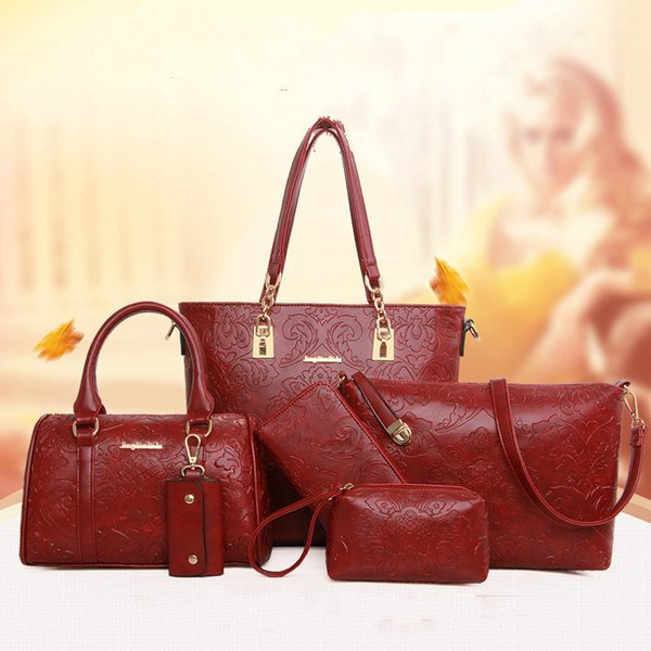 6pcs Women Bag Set National Trend Embossed Leather Women Handbag Totes Floral Boston Bag Single Shoulder Bag+Purse 4Colors