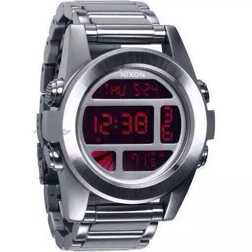 Envío gratis NX Relojes de cuarzo A360-1263 para hombre THE CHRONO Dial de metal plateado Gunmetal Steel Band CHRONOGRAPH Pantalla digital A3601263 original