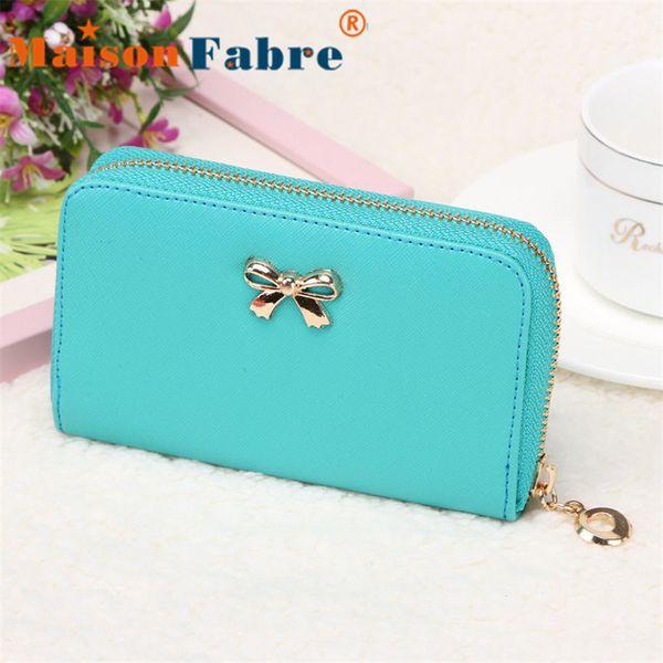 Wholesale-New brand cartera billetera mujer 2015 cheap Women Korean Cute Bowknot Purse Solid Long Leather Wallet Handbag