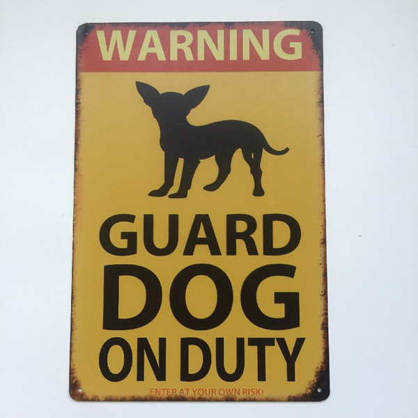 Warning Guard Dog on Duty Vintage sign Home Bar Pub Hotel Restaurant Coffee Shop home Decorative Retro Metal Poster Tin Sign