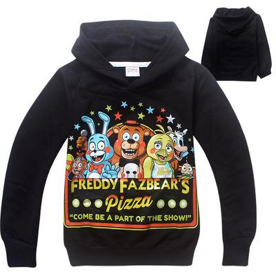 Boys Autumn Black Grey Pullover Sweatshirt Five Nights At Freddy's Cool Children Custom Funny Cotton Hoodie For Kids Age 4-14T
