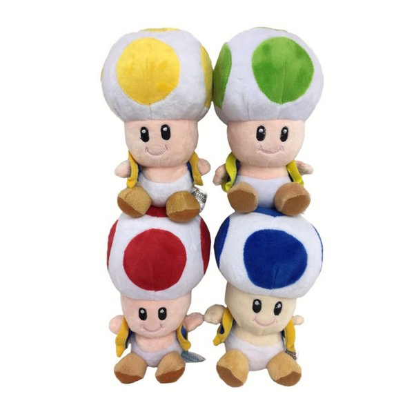 "6.5"" 17cm 4pcs/Lot Super Mario Bros Toad Plush Dolls Stuffed Toy Animals For Baby Gifts"