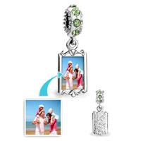 Customized blank square dangle photo charm Birthstone crystal European Charms Fit Pandora Chamilia Biagi Charm Bracelet