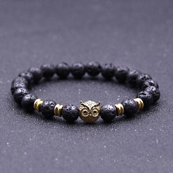 Vendita calda naturale pietra lavica oro argento placcato gufi bracciali Reiki chakra guarigione equilibrio perline per uomo donna regalo di fascino gioielli yoga