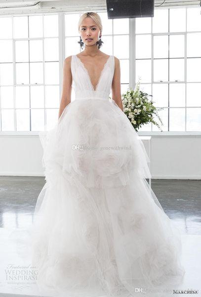 Ruffled Tulle Skirt Romantic Ball Gown Wedding Dresses 2018 Marchesa ...