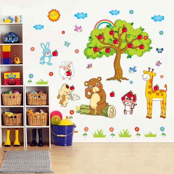 apple tree giraffe cartoon animals zoo wall stickers for kids rooms baby room wall decal home decoration poster mural