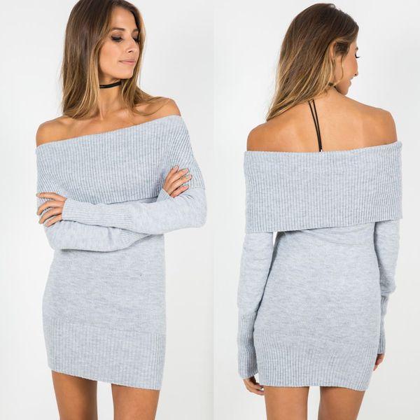 Womens Slash Neck aus der Schulter Slim Sexy Pullover grau Mode Langarm Strick Pullover schwarz Pullover Kleider Strickwaren