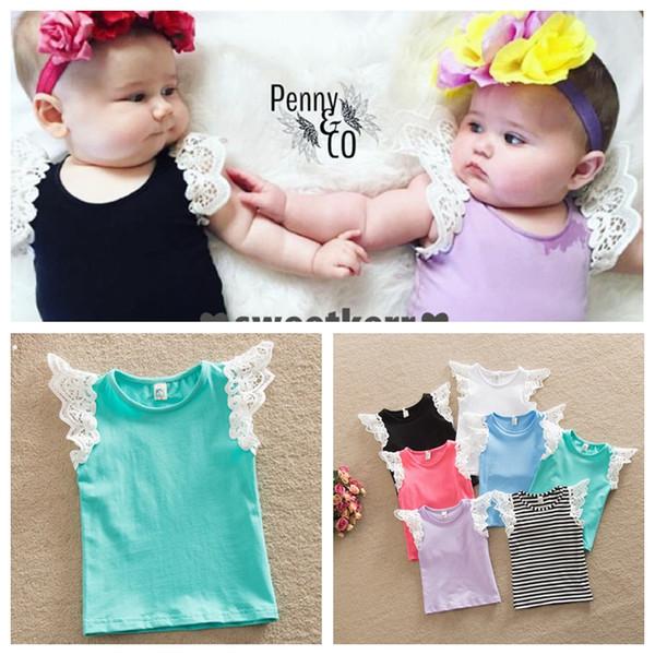 top popular Newborn Baby Girls T-shirt Vest Singlets lace 2016 Summer top Sale Puff Shoulder straps 7 colors 6 size u pick 2021
