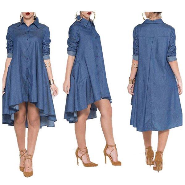 2016 Irregular Hem Denim Dress Long Sleeve Loose Dress NEW Sexy Casual Dress Women asymmetric Shirt Dress Elegant Women Jeans Dress Vestidos