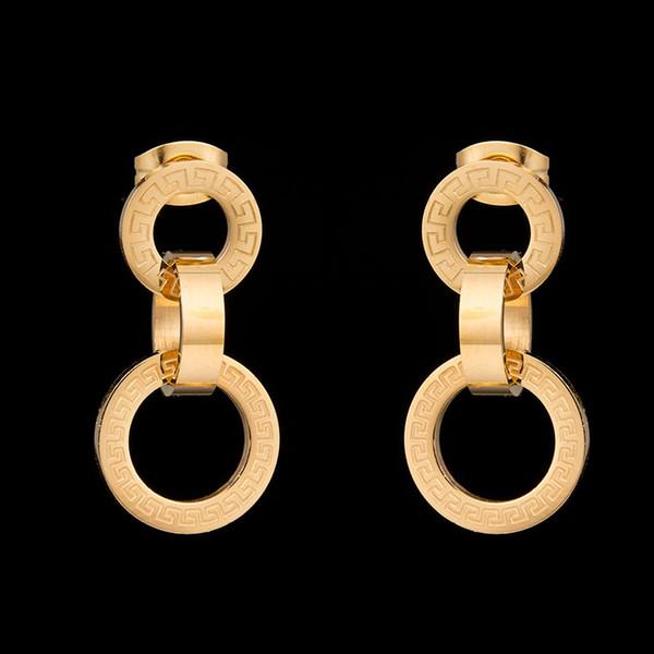 Nouvelle marque de qualité supérieure ne se fanent jamais des boucles d'oreilles clés en or de couleur grecque 316L boucles d'oreilles en acier inoxydable pour cadeau