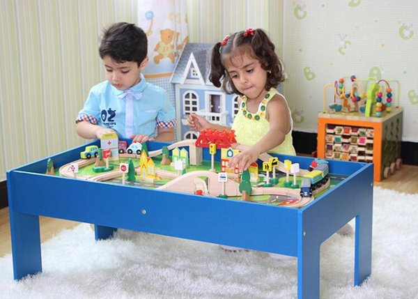 90 train tracks suit table. Scenario toy roller coaster game tables. High-grade wood