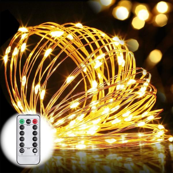 8 Режимов Свет шнура Водонепроницаемый 33ft 100LED Медный Провод Звездный Свет Струны Батареи Работает на Пульт Дистанционного Управления Свадьба Xmas Party Light