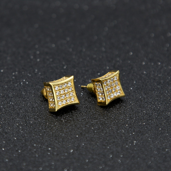 top popular Luxury Earrings Full Crystal Zirconia CZ Stud Earrings Trendy Top Quality Gold Silver Color Men Women Punk Brincos 2021