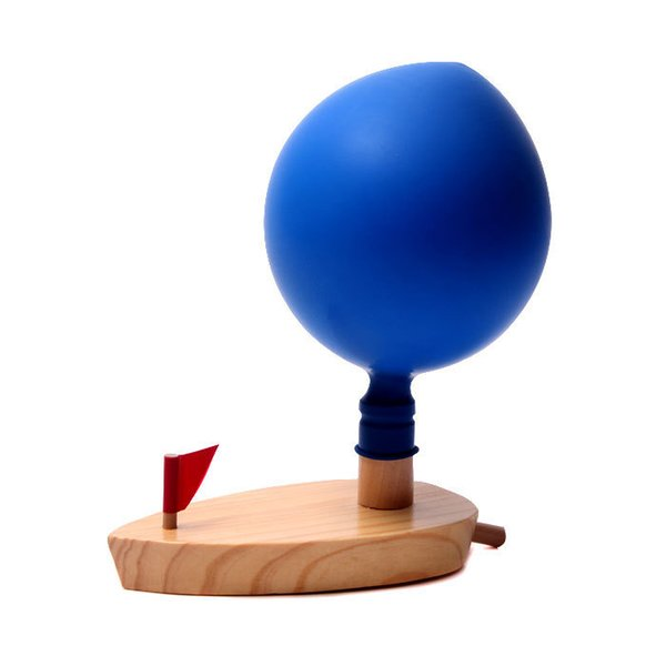 top popular Baby Toys Schylling Balloon Powered Boat Classic Wooden Toys Balloon Wooden Boat Child Wooden Bath Toys Christmas Birthday Gift 2019