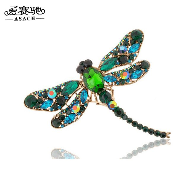 Wholesale- ASACH Vintage Elegant Brooches For Women Cute Rhinestone Brooch Dragonfly Brooches pin Insect broches brosche For Girls spille