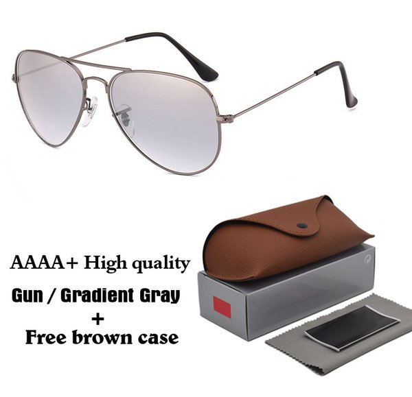 High Quality Metal Frame Gradient Glass Lenses Sunglasses Women Men Brand Design driver Eyewear Pilot Sun Glasses with brown cases and box