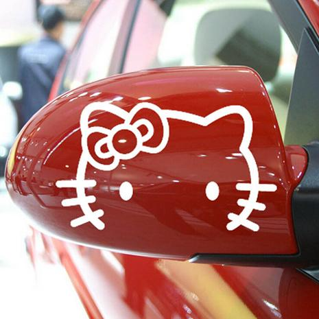 Wholesale 2pcs/set, Rear-view Mirror Sticker, Car / Motorcycle Sticker, Cartoon Hello Kitty Sticker for All Cars, Car Styling, Fashion