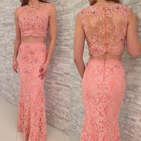 Pink Full Lace Evening Dresses Two Pieces Prom Gowns With Crystal Beaded Sheath Sexy See Through Party Gowns