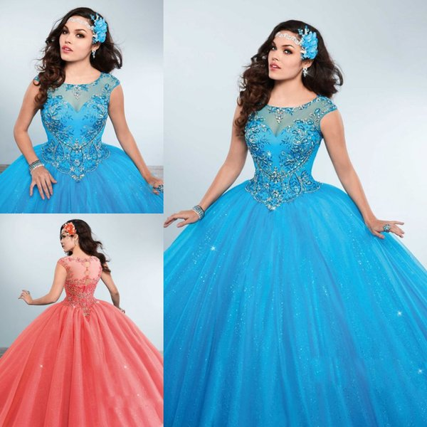 Vintage Beading Rhinestones Quinceanera Dresses Bling Sheer Jewel Neck Sweet 16 Masquerad Ball Gowns Tulle Crystals Debutante Dress