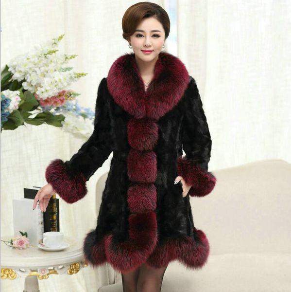 New Fashion Haining Long Section Mink Coat Female Models Mink Fur Coat Large Size Jacket Women Coat S M L XL XXL 3XL 4XL 5XL 6XL