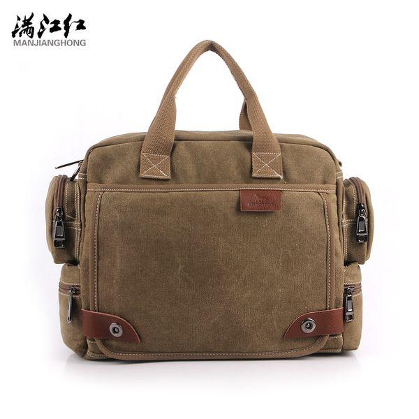 Wholesale- MANJIANGHONG Vintage Crossbody Bag Brand Canvas Shoulder Bags Men Messenger Bag Men High Quality Handbag Tote Briefcase 1101