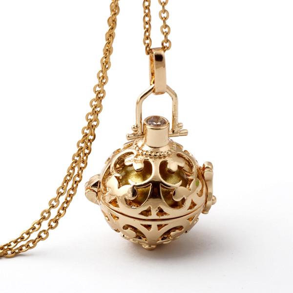 Wholesale-18K Gold überzog Käfig-Engels-Ball-Halskette 6 Farben-Ball-Metallschwangerschafts-Ball in den Anhänger-Baby-Glockenspiel-Halskette