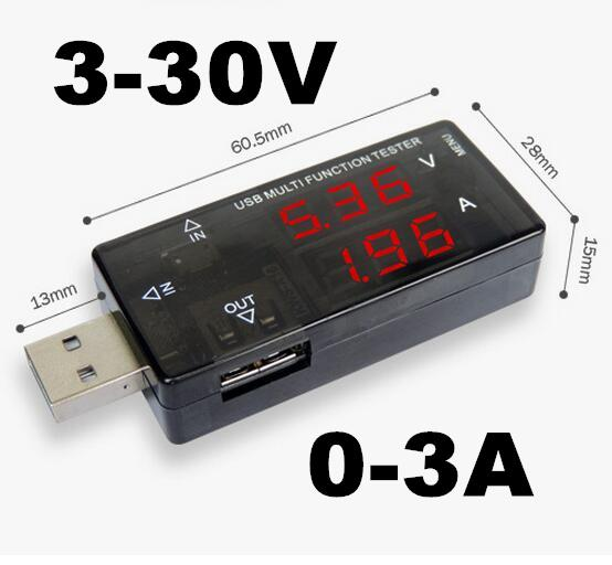10pcs USB multifunction tester charge power bank meter 3V-30V 0-3A power capacity voltage current tester Timing function