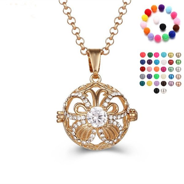 New Butterfly Design CZ Diffuser Necklaces Cage Zircon Jewelry Pryme Angel Bola Sound Pendants Neck Fine Jewelry For Mom Gifts