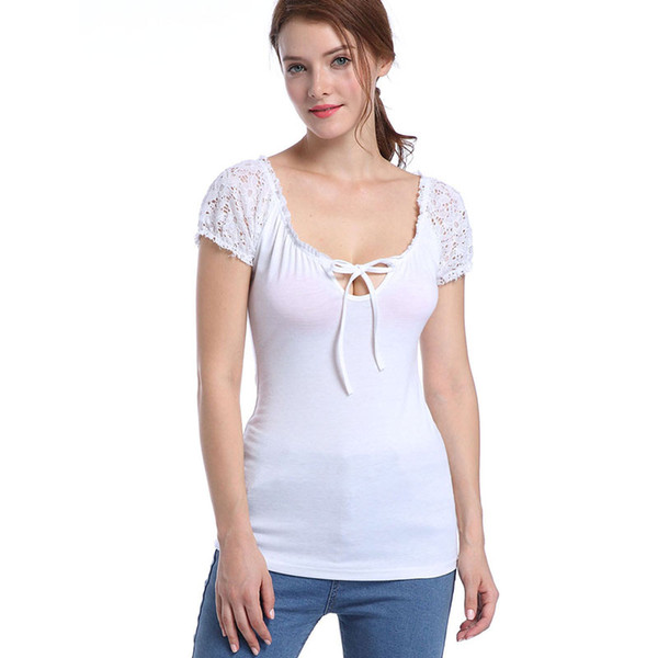 Europe and the United States sales of hot, new women's blouses, lace, short sleeved, round collar tie, solid color black and white T-shirt