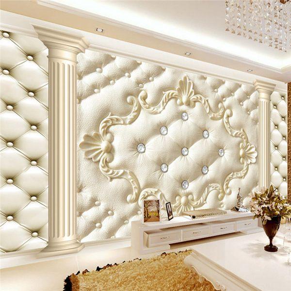 3D large fresco living room TV background wallpapers European Roman column soft bag wallpaper seamless wall cloth