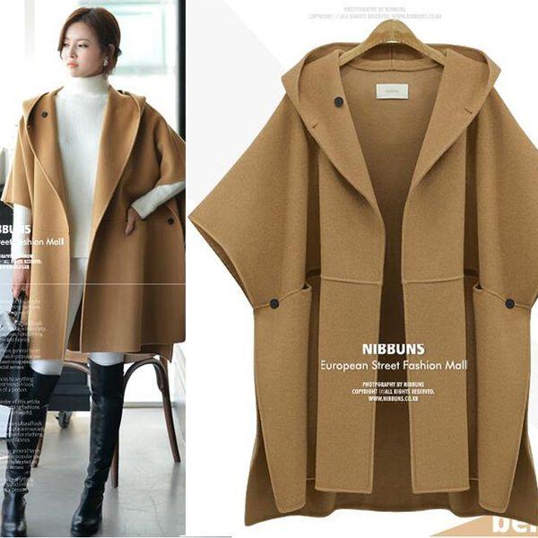 Europe wool coats woman cloak jacket plus size fat women winter long trench coat loose clothing jackets for women