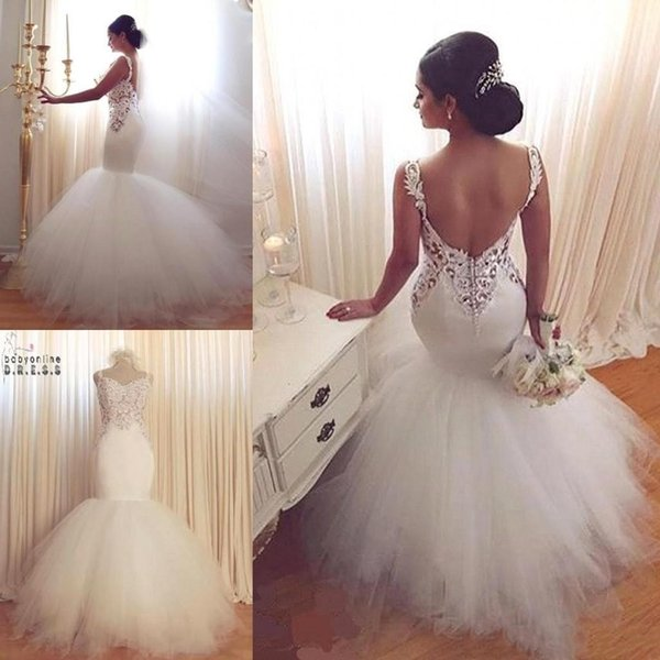 best selling 2019 Arabic Glamorous Mermaid Goddess Lace Wedding Dresses Sweetheart Vintage Lace Sexy Backless Tiered Tulle Summer Bridal Gowns BA2423
