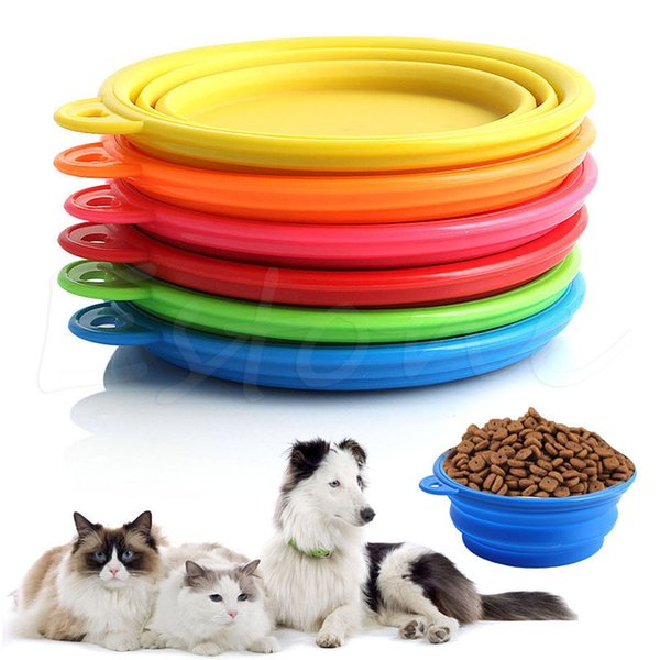 Collapsible Silicone Cat Dog Pet Feeding Bowl Water Dish Feeder Portable Hot Sell With 6 Colors