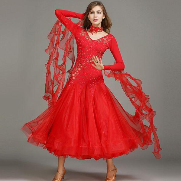 Новые женщины бальный танец платье современный Вальс стандартный конкурс горный хрусталь аппликация танец платье 6Color S-2XL YL060
