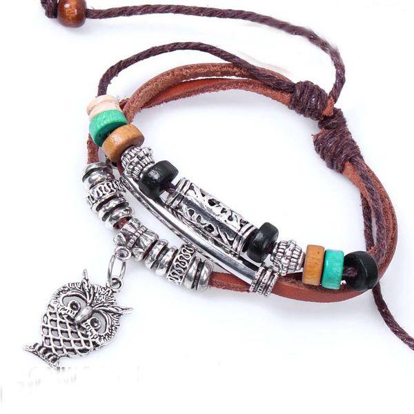 2016 Rétro Mignon Hibou Multi Couche Bracelet Cortical avec Perles En Bois Bracelet En Cuir Bracelet Bijoux Accessoires