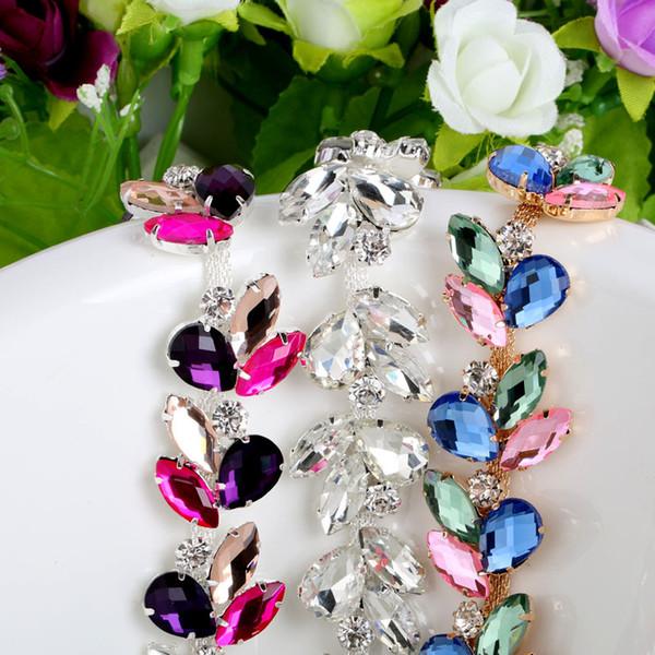 3 Colors 1Yard Crystal Rhinestone Cup Silver Chain Bridal Wedding Dress Decoration Trim Applique Sew on Garment Shoes Bags