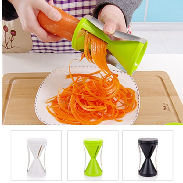 best selling 3 Colors Kitchen Room Grater Vegetable Spiral Slicer Easy Spiral Vegetable Spiralizer Slicer Twister Cuisine Cutter