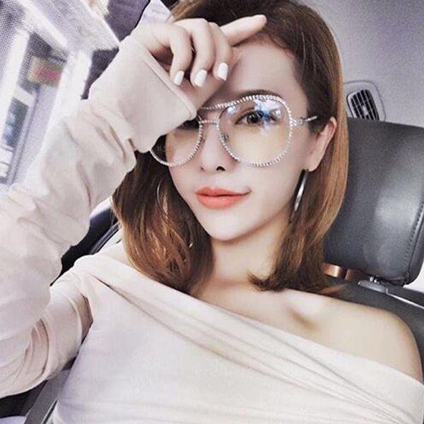 Brand Designer Sunglasses Women Decorative Stone Brand Designer Copper Frame Clear lens Double Bridge Eyeglasses YW137