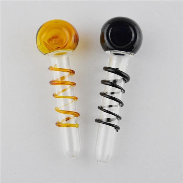"Glass Oil Burner Pipes 4.3"" inch Colored Smoking Pipes with Stripe High Quality Hand Tobacco Glass Pipe for Sale"