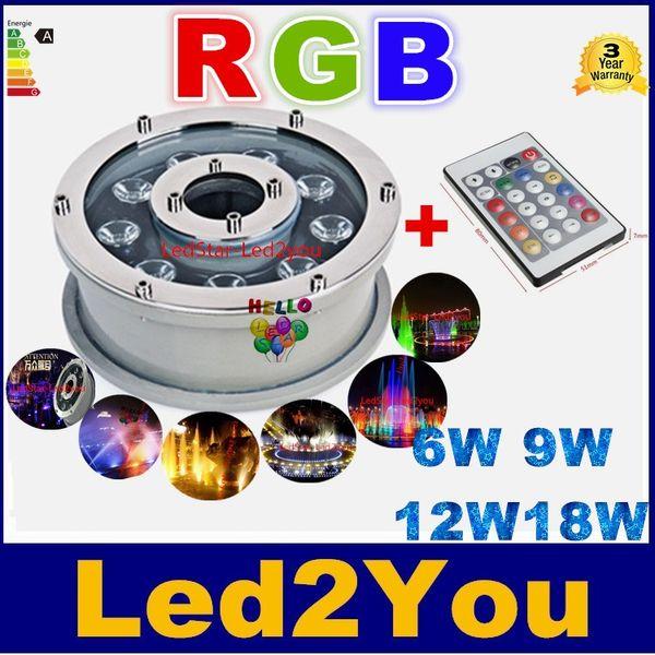 RGB Unterwasser Pool Lichter wasserdicht IP68 6W 9W 12W 18W Unterwasser Marine LED Brunnen Lichter AC 12V 24V + Fernbedienung