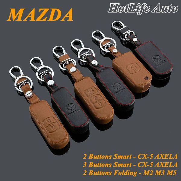 MAZDA CX-5/Axela/2/3/5 Keychain Genuine Leather Car Key Case Holder Cover Smart Remote Control Alloy Car Key Chains Key Rings