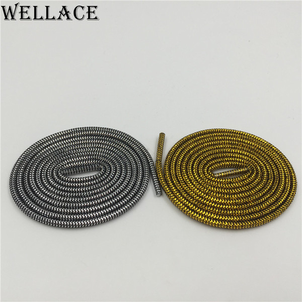 (30 pairs/Lot) Wellace Round type Metallic Glitter Shoelaces FREE SHIPPING Shoe Laces String for Sneaker sport dress shoes wholesales