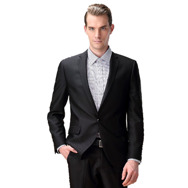 Wholesale-Hot SaleFree Shipping 2016 New Arrival Men Office or Party Solid Black Suits of High Quality in Cheap 85